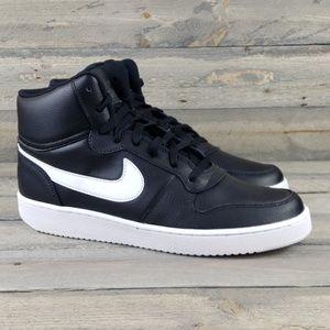 New Nike Men's Ebernon Mid Sneaker Black/White
